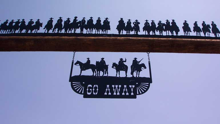 Ranch Sign - 30 Cowboys with Go Away footer