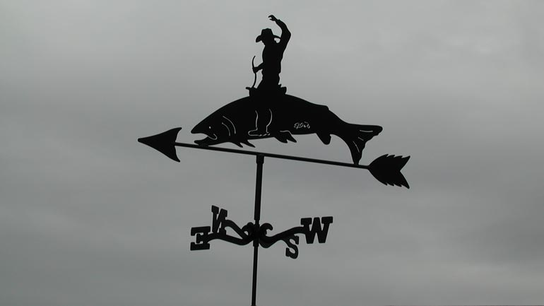 Bucking Salmon Weathervane