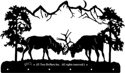 21 inch x 36 inch Fighting Elk Coat Rack