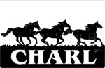 13.4 inch x 28.75 inch Running Horse Name Sign