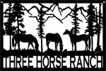 24 inch x 36 inch Horses, Mountains Name Sign